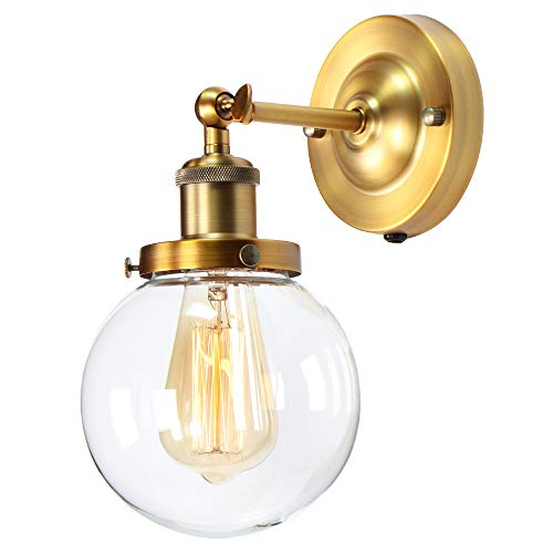 Retro Wall Sconce, Premium Vintage Industrial Wall Light Fixture, XIDING Edison Wall Lamp, Upgrade Matte Antique Brass Finish, Classical Globe Hand-Made Clear Glass Lampshade, 1-Light ()