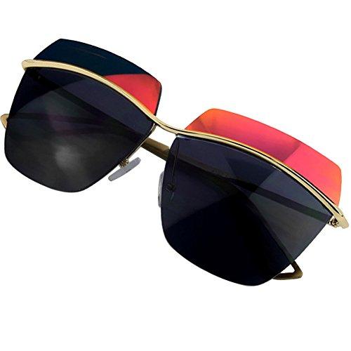 Sumery Luxury Fashion Design Arm Rimless Big Sunglasses Women UV Protect (Gold, - Lady Gaga Sunglasses Versace
