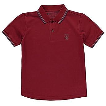 63acd6755 Firetrap Kids Lazer Polo Shirt Junior Boys Smart Short Sleeve Collar Neck  Tee Burgundy 7-