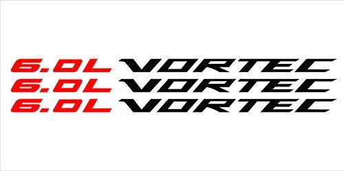 Red 6.0 Liter Chrome Vortec Hood Cowl Vinyl Decal Emblem Fits Chevy Silverado GMC Sierra - Cowl Emblem
