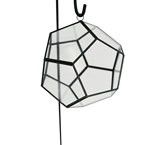 Home-X Geometric Globe Shape Glass Prism Terrarium with Black Rim/Air Plant Display Case/Tea Light Candle Holder (Display Hanger not Included)