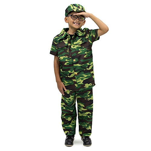 Courageous Commando Childrens Boy Halloween Costume, Dress Up Army Soldier Camo