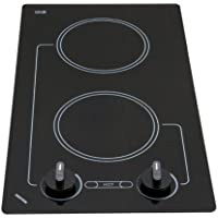 Kenyon B41602 6-1/2-Inch Caribbean 2-Burner Cooktop with Analog Control UL, 240-volt, Black