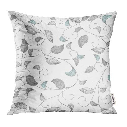 (Emvency Throw Pillow Covers Decorative Cases Blue Baroque with Small Leafs Gray Modern Light Graphic Vintage Plant Abstract 18x18 Inch Cover Cushion Pillowcase Square Case Print)