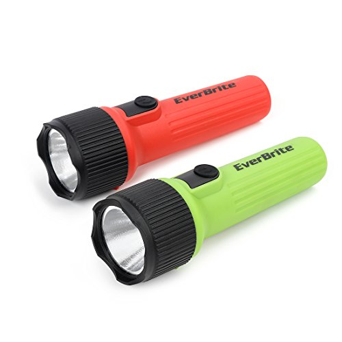 EverBrite LED Flashlight 2-Pack, Plastic Handheld Torch Light, Red/Green, 2 D Battery Included