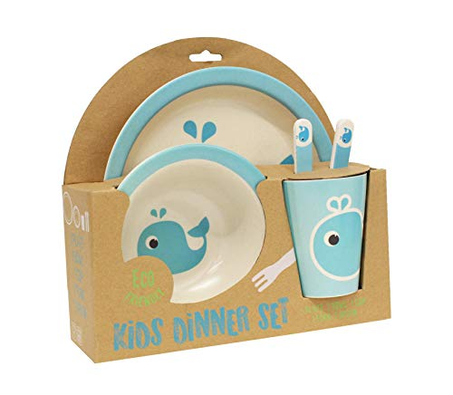 Gourmet Home Products 198001 5-Piece Kids Dinner Set, Whale ()