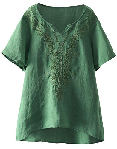 - Mordenmiss Women's Embroidered Blouse Tunic V-Neck Linen Tops Short Sleeve Hi-Low Hem Shirt (XL,Green)