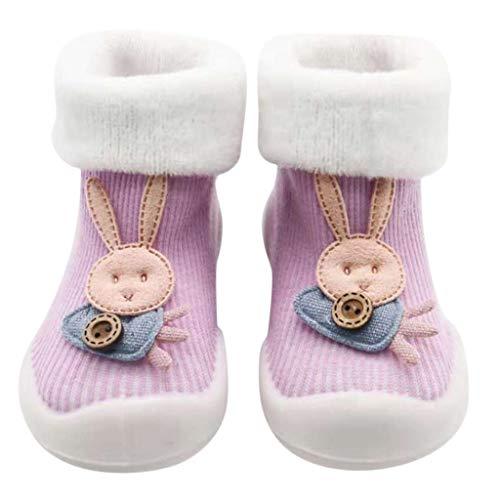 Kids Anti-Slip Slipper Floor Socks | Toddler Baby Boys Girls Non-Slip Socks Soft Bottom Rubber Booties Shoes (Age:1-2Years/Label Size:L, Purple)