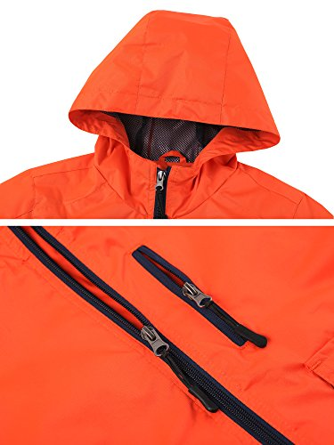Wantdo Boy's Ultra Light Packable Travel Jacket Outdoor Windcheater Zipped Hoodies for Traveling(Lily Orange Yellow, 14/16) by Wantdo (Image #4)