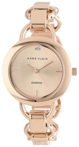 Anne klein women 39 s ak 1384rgrg diamond dial rose gold tone import it all for Anne klein rose gold watch set