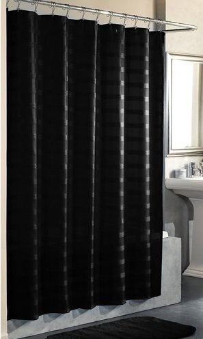 Black Fabric Shower Curtain By Mainstays