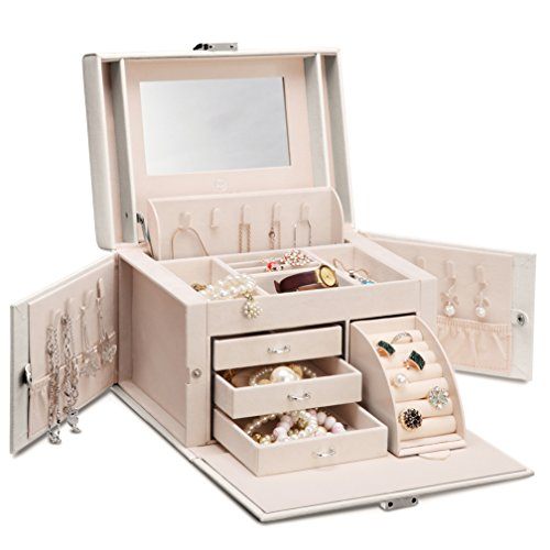 Case Ladies Jewelry (Vlando Mirrored Wooden Jewelry Box Organizers for Girls Women - Necklaces Earrings Rings Watches Storage Case Holder - Vintage Gift Box (Pearl White))