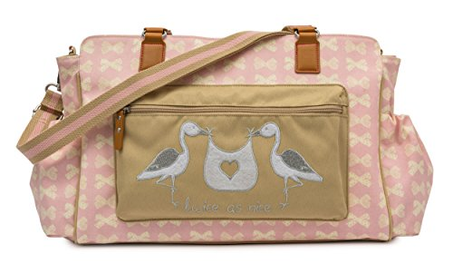 Pink Lining Wickeltasche Twins Bag 'Twice as Nice' Cream Bows on Pink