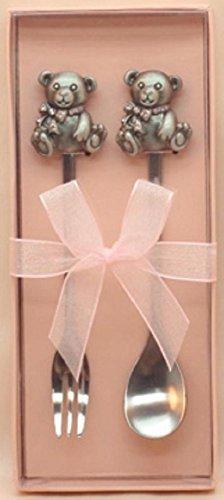 Teddy Bear Spoon & Fork Set - Pink