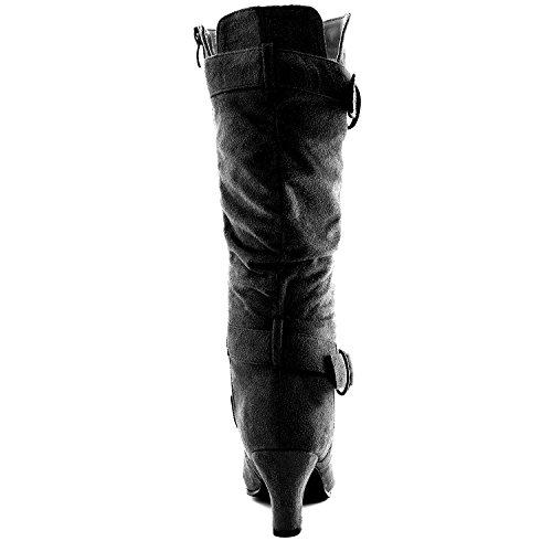 """Dailyshoes Damen Slouchy Mid Calf Riemchen Stiefel mit Knöchel und Top Straps - 2 """"Heel Fashion Boots Schwarz Sv W / Seitentasche"""