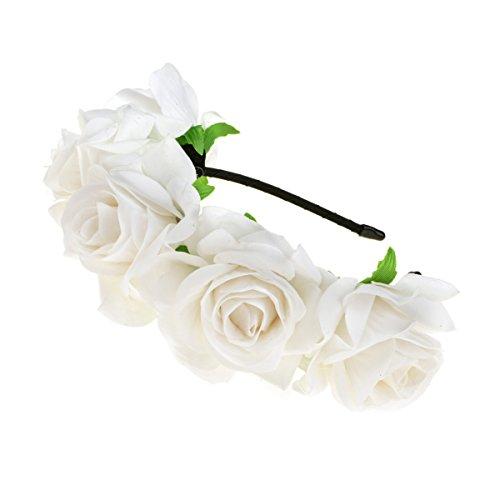 (DreamLily Rose Flower Crown Wedding Festival Headband Hair Garland Wedding Headpiece (White))