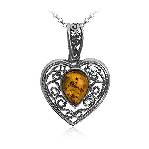 Sterling Silver Amber Victorian Heart Pendant Necklace Chain 18 Inches - Amber Heart Pendant