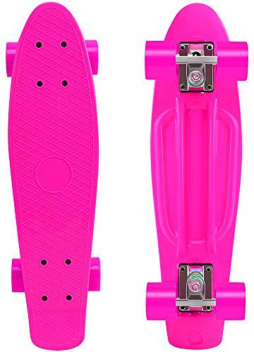 ChromeWheels Skateboard 22 inch Complete Skate Board Mini Cruiser for Kids Boys Youths Beginners