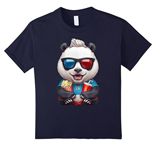 unisex-child Happy Panda Watching a Movie in Red and Blue Glasses T-Shirt 12 Navy