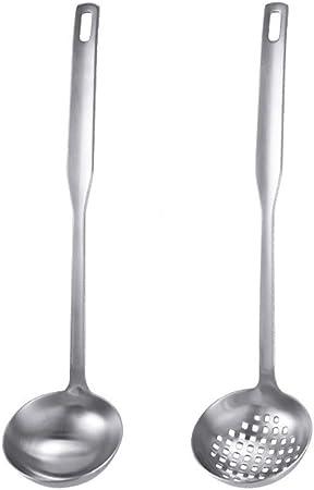 Coladores de alimentos Juego de colador de cucharón for sopa, cubiertos de metal con glaseado de acero inoxidable Utensilios de cocina con mango largo Cuchara ranurada de acero Juego de utensilios de: