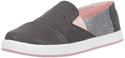 TOMS Girls' Avalon Loafer, Forged Iron Twill Glimmer 21, 2 Medium US Little Kid