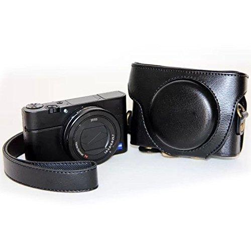 Dig ドッグボーン カメラケース レトロスタイル レザーカメラケースバッグ ストラップ付き Sony RX100 M3用, ブラック, S-DCA-2461B B07L9D271W ブラック