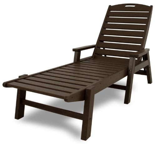 POLYWOOD NCC2280MA Nautical Chaise with Arms - Stackable, Mahogany (Wood Furniture Patio Painting)