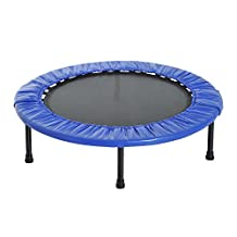 "Soozier Φ40"" Foldable Mini Fitness Trampoline Home Gym Yoga Exercise Rebounder Indoor Outdoor Jumper with Safety Pad, Blue/Black"