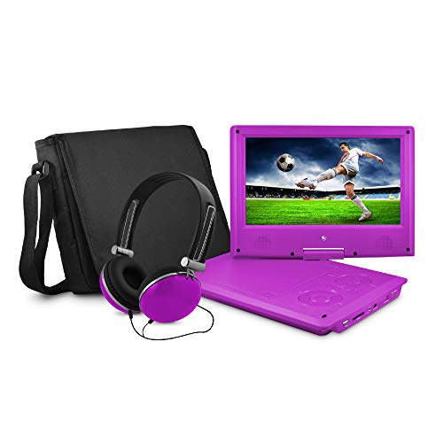 (Ematic Portable DVD Player - 9-Inch High Resolution LCD Display, ON-THE-GO Movies, Music & Photos, 180 Degree Swivel, Premium Headphones, Travel)