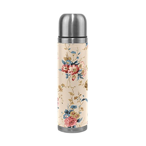 Vacuum Insulated Water Bottle Double Wall Stainless Steel Leak Proof Wide Mouth with Novelty Graphic Hand-Painted British Idyllic Patterns Compact Bottle Beverage (Hand Painted 1 Liter Carafe)