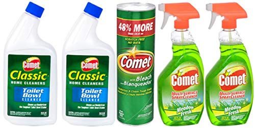 Two Comet Multi-Surface Spray Cleaner, Meadow Fresh, 22 Ounce, One Comet Disinfectant Cleanser, 25 oz. and Two Comet Classic Home Cleaners Toilet Bowl Cleaner, 24 Ounce Bundle (5)