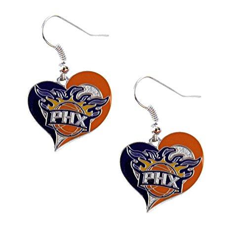 Phoenix Suns Earring (Phoenix Suns Swirl Heart Earring NBA Dangle Logo Charm Gift)