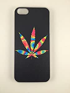 Psychedelic Marijuana Leaf 420 iPhone 5/5s Thin Hard Plastic Snap on Bumper Case Clear