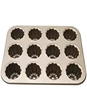 kitbooly Canele Cake Pan, 12-Cavity Non-Stick Cannele Muffin Bakeware Cupcake Pan for Oven Baking(Champagne Gold)