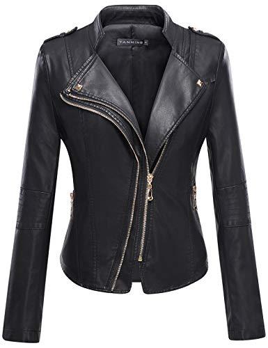 Tanming Women's Faux Leather Collar Moto Biker Short Coat Jacket (Medium, Black16)