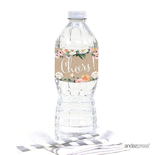 Andaz Press Peach Kraft Brown Rustic Floral Garden Party Baby Shower Collection, Water Bottle Labels, 20-Pack (Peach Label)