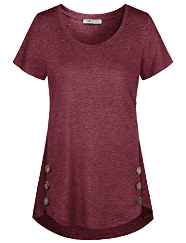 (SeSe Code Women Tunic Tops,Ladies Loose Fitting T Shirts Short Sleeve Blouse Petites Clothing Vintage Leisure Beauty Tunics Vacation Wear Wine Large)