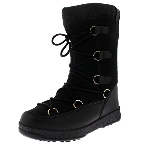 Textile Womens Winter Thermal Knee Waterproof Snow Products Durable Polar Fleece Black Boots 57xXqTPR