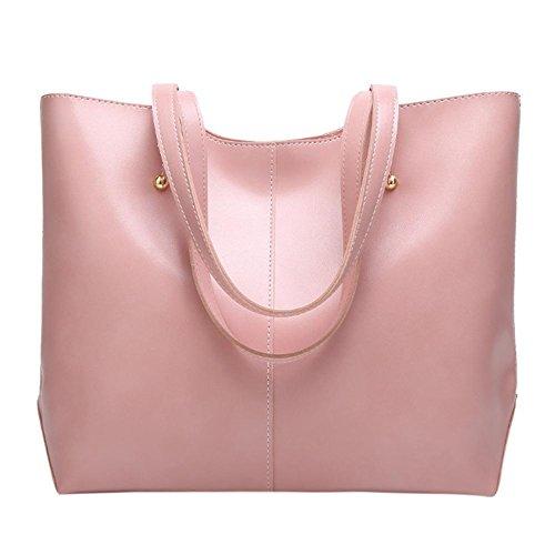 Totes Shopping Women Shoulder Oil Pink Widewing Simple Big Capacity Wax Handbag Leather vwazBxdq