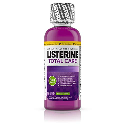 Listerine Total Care Anticavity Mouthwash, 6 Benefit Fluoride Mouthwash for Bad Breath and Enamel Strength, Fresh Mint Flavor, Travel Size, 3.2 fl. Oz (Pack of 12)