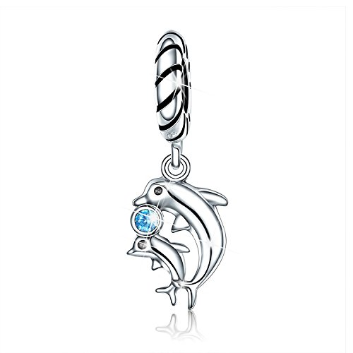 PHOCKSIN Mother Daughter Son Dolphin 925 Sterling Silver Charms for Bracelets Dad Mom - Charm 925 Dolphin Sterling Silver