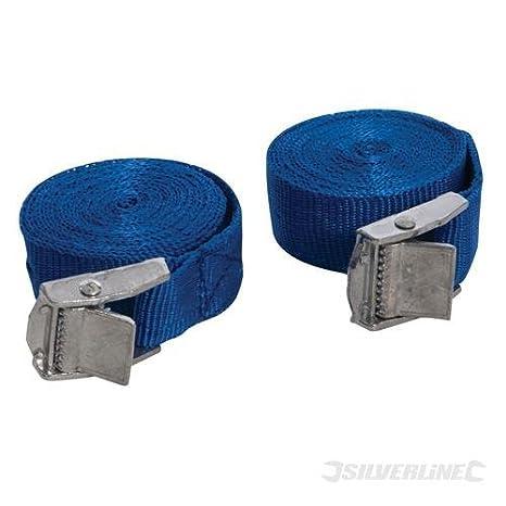 Cam Buckles Tie Down Straps 2 x 25mm 2.5 meter LIGHT BLUE endless