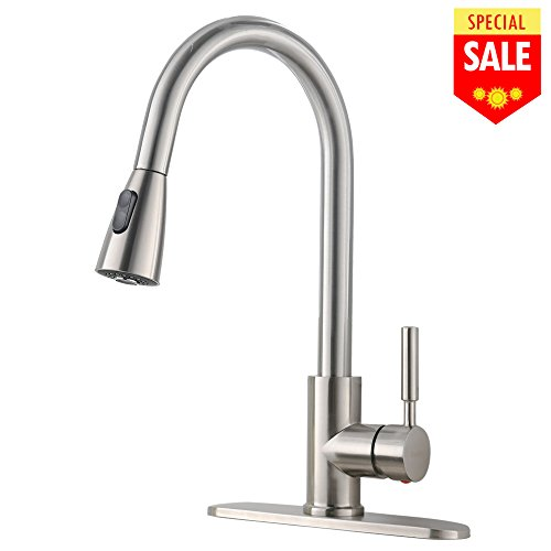 Plate Lever Handle - VESLA HOME Commercial High Arch Pull Down Sprayer Brushed Nickel Kitchen Sink Faucet, Swivel Single Lever Stainless Steel Kitchen Faucet With Deck Plate
