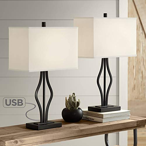 Ally Modern Contemporary Table Lamps Set of 2 with USB Charging Port Black Rectangular Fabric Shade Decor for Living…