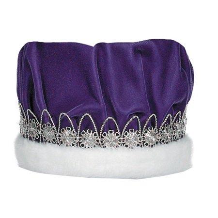 Purple Velvet Regal Crown, White Faux Fur Rhinestone Silver Band 6 1/2 Inch high