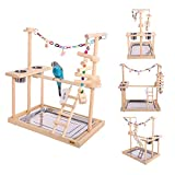 """QBLEEV Parrot Wood Stand Perch Bird Playstand Playground Playgym Playpen Ladder with Toys Exercise Play (Include a Tray)(19"""" L13 W21 H"""
