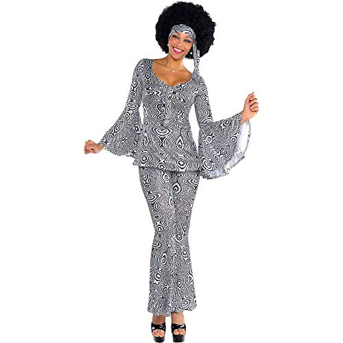 Suit Yourself Dancing Queen Disco Costume for Adults, Size Extra-Large, Includes a Matching Top, Pants, and a Headscarf -