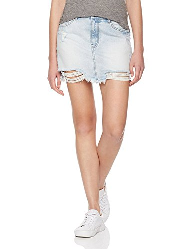 Lily Parker Women's Casual Distressed Rips Denim Skirt