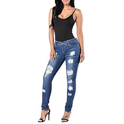 Amazon.com: Pantalones vaqueros para mujer, estilo casual ...