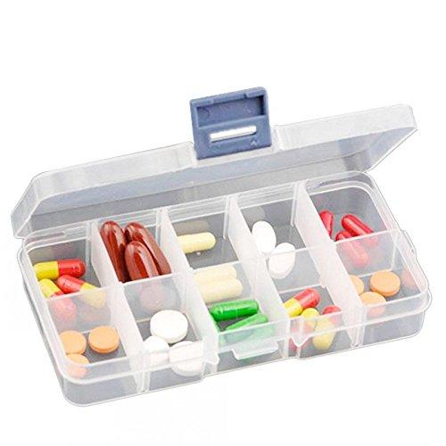 Clear Plastic 10 Slots Pill Jewelry Beads Box Craft Zakka Organizer Storage Holder